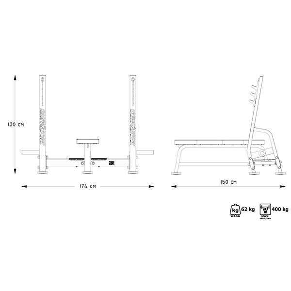 ספת משקולות שטוחה מקצועית מדגם MP-L204 מבית MARBO