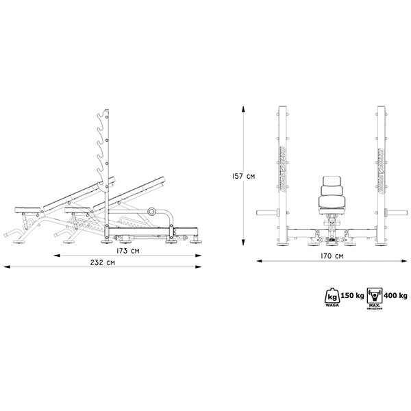 ספת משקולות מתכווננת וסקוואטים מקצועית מדגם MP-L213 מבית MARBO