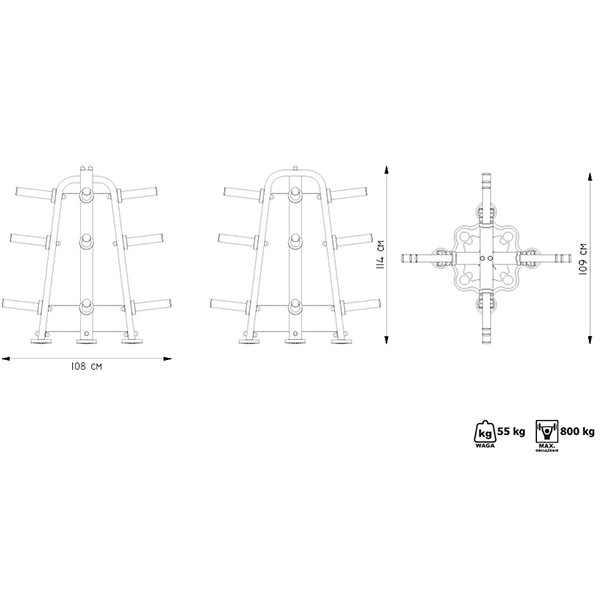 סטנד מקצועי לצלחות ומוטות אולימפים מדגם MP-S204 מבית MARBO