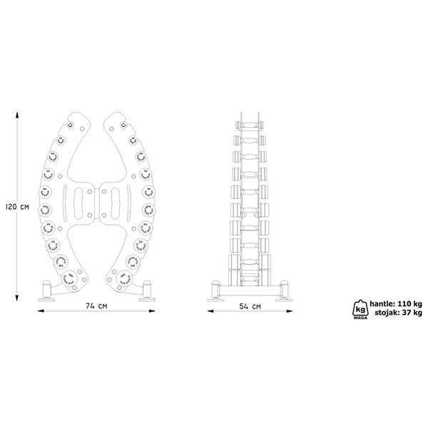 """סטנד משקולות מקצועי עם משקולות כרום 1-10 ק""""ג מדגם MP-S206 מבית MARBO"""