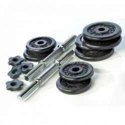 """סט משקולות יד ללא ציפוי 60 ק""""ג כולל 2 מוטות"""